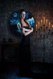 Demonic woman. Fantasy style portrait of demonic woman in full moon night Stock Photo