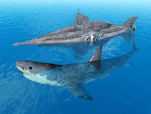 Fantasy Submarine with Giant Shark Royalty Free Stock Photography