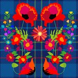 Fantasy summer wildflowers on blue textile background. Royalty Free Stock Photography