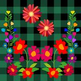 Fantasy summer wildflowers on blue textile background. Royalty Free Stock Image