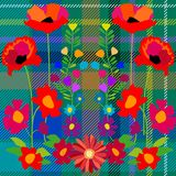 Fantasy summer wildflowers on blue textile background. Stock Images