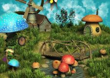 Fantasy sunny meadow full of mushrooms. A fantasy meadow with houses made of mushrooms stock illustration
