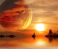Fantasy sunset. Landscape in fantasy planet. 3d royalty free illustration