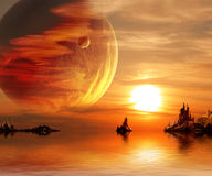 Fantasy sunset. Landscape in fantasy planet. 3d Stock Photo