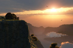 Fantasy sunset on canyon edge Royalty Free Stock Photography
