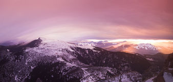 Fantasy sunset in Romanian Carpathians royalty free stock images