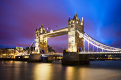 Fantasy sunset at Tower Bridge in London city Stock Photography