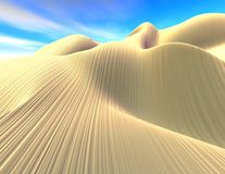 Fantasy surreal 3d landscape, dunes and blue sky. Stock Images