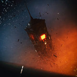 Fantasy Surreal Tower Concept. Concept art of fantasy type of surreal environment with a dark tower floating in the space with its cracked pieces while a glowing Stock Photos