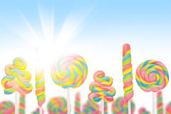 Fantasy sweet candy land with lollies Royalty Free Stock Photos