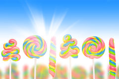 Fantasy sweet candy land with lollies Royalty Free Stock Images