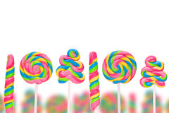 Fantasy sweet candy land with lollies. Isolated on white background Stock Image