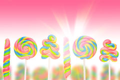 Fantasy sweet candy land with lollies Stock Photo
