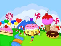 Fantasy sweet food land Stock Images