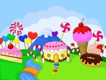 Fantasy sweet food land vector illustration