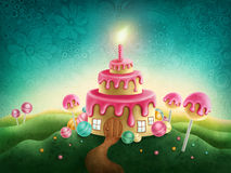 Fantasy sweet land. With birthday cake and candle vector illustration