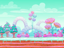 Fantasy sweet world illustration. Candyland scene with cute blue, mint and pink elements, background for game or web design. Vector seamless landscape with