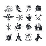 Fantasy tale black vector icons set. Medieval arrow and bow and witchcraft illustration Royalty Free Stock Photography