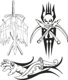 Fantasy tattoo crusader sketches. Set of fantasy tattoo black and white sketches with antique crusader weapon and symbols - sword, dagger, axes, cross and skull Stock Photos