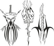 Fantasy tattoo sketches with dagger, sword and trident Stock Image