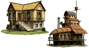 Fantasy tavern buildings 3D illustration. Two fantasy tavern buildings 3D illustration Stock Image