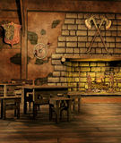 Fantasy tavern with a fireplace Stock Photos