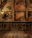 Fantasy tavern interior. Fantasy tavern counter with candelabra and barrels Stock Image