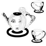 Fantasy Tea with a girl Stock Photography