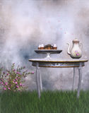 Fantasy tea party. A 3D rendered image of fantasy tea party with cupcakes royalty free illustration