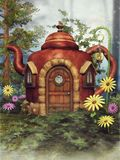 Fantasy teapot cottage royalty free illustration