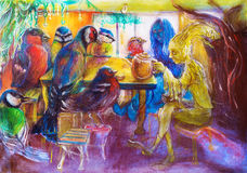 Fantasy teatime with birds and fairy friends, detailed structured multicolor painting. Stock Photo