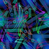 Fantasy techno background with curves and swirls. Green and blue decor on black area. Stock Photography