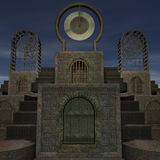 Fantasy temple at dawn. 3D rendering of a fantasy theme for background usage stock illustration