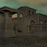 Fantasy temple at dawn. 3D rendering of a fantasy theme for background usage royalty free illustration
