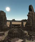 Fantasy temple ruins. 3D rendered fantasy ancient temple ruins with statues Stock Image