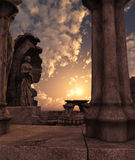 Fantasy temple ruins. 3D rendered fantasy ancient temple ruins with statues Stock Photos