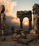 Fantasy temple ruins. 3D rendered fantasy ancient temple ruins with statues Royalty Free Stock Image