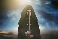 Fantasy thief and dramatic landscape Stock Images