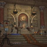 Fantasy Throne Room. 3D Render of an Fantasy Throne Room Royalty Free Stock Photography