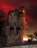 Fantasy tower 2. Fantasy clock tower at sunset Stock Image