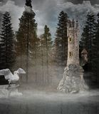 Fantasy tower in the misty forest royalty free stock photos