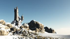 Fantasy Tower in the Snow Royalty Free Stock Images