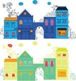 Fantasy town illustration Stock Image