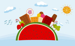 Fantasy town of sweetness. Vector drawing of town made from fruit and candy Stock Photos