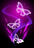 Fantasy transparent butterfly. Glowing background with transparent butterfly Stock Images