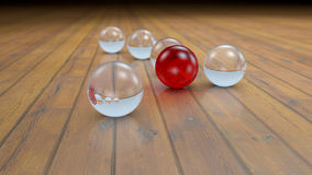 Fantasy transparent and colored realistic glass balls on a realistic wood floor floor. Royalty Free Stock Photos