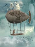 Fantasy transport. In the sky with birds Royalty Free Stock Image