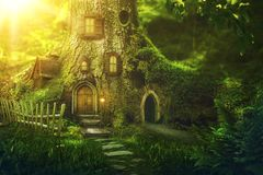 Fantasy tree house. In deep forest royalty free stock image