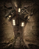 Fantasy tree house. With light in the forest Royalty Free Stock Photography