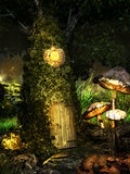 Fantasy tree house. Magic tree house at night, with mushrooms, clock and crystals royalty free illustration